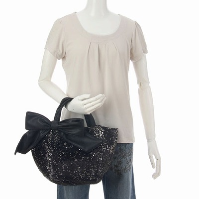 deux lux デュラックス スパンコール リバーシブル トートバッグ Lucky Small Reversible Sequin Tote with Bow DL812-168 ブラック
