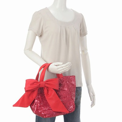deux lux デュラックス スパンコール リバーシブル トートバッグ Lucky Small Reversible Sequin Tote with Bow DL812-168 チェリー