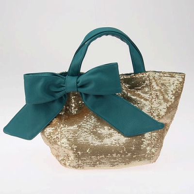 deux lux デュラックス スパンコール リバーシブル トートバッグ Lucky Small Reversible Sequin Tote with Bow DL812-168 ティール
