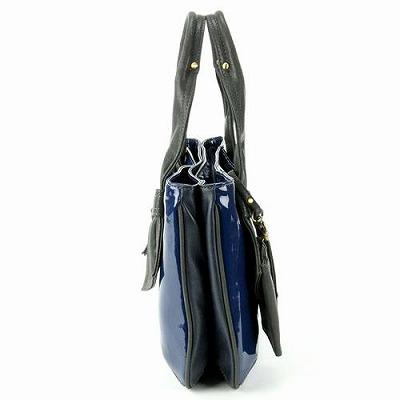 イヴ・ヴァレンテ(Yves Valente) エナメルスワロー 手提げバッグ ネービーブルー